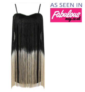 View Item Black and Gold Fringe Bodycon Dress